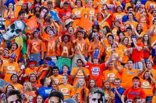 Bishop Gorman fans already pumped up an hour before kickoff for the game versus St. John Bosco on Friday, September 26, 2014.
