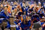 Bishop Gorman players and fans celebrate after beating St. John Bosco 34-31 on Friday, Sept. 26, 2014, at Fertitta Field.