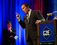 Steve Wynn answers a question from the audience during his keynote speech at the Global Gaming Expo, G2E, about the Sands Expo on Tuesday, September 30, 2014. .