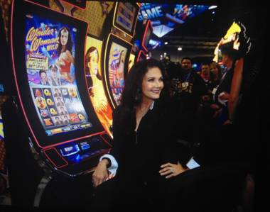"Lynda Carter appears at the 2014 Global Gaming Expo in Las Vegas on Tuesday, Sept. 30, 2014, to unveil two ""Wonder Woman"" slot machines."