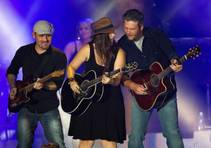 Blake Shelton performs with his band during the Route 91 Harvest Festival at MGM Resorts Village on Friday, Oct. 3, 2014.