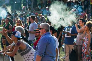 Festival attendees smoke while listening to Los Marijuanos performing during the Las Vegas Hempfest taking place at the Clark County Amphitheater on Saturday, October 4, 2014..