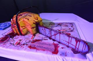 The chainsaw cake created by Showboy Bakeshop of Las Vegas at the Fright Dome grand opening Friday, Oct. 3, 2014, at Circus Circus.