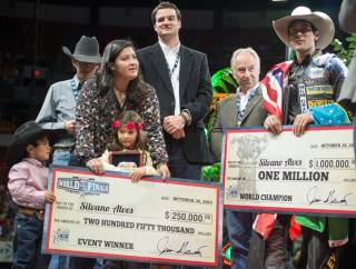 Silvano Alves of Brazil won the 2014 PBR Built Ford Tough Series World Finals at the Thomas & Mack Center from Oct. 22-26, 2014, at UNLV. He also was crowned world champion for the third time and received a $1 million bonus for the season-ending title.