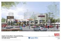 Owners of the Hughes Center office park are building a retail plaza that's slated to open in summer 2015 with low-priced eateries. Above, a rendering.