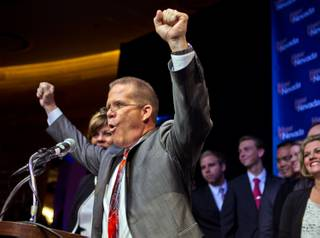 Sen. Mark Hutchison is pumped up as Nevada Republicans gathered to help celebrate his win as Lt. Governor at the New Nevada Lounge in the Red Rock Casino on Tuesday, November 4, 2014.
