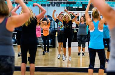 A cardio class, pictured here Thursday, Nov. 6, 2014, is one of many classes offered at the new Life Time Athletic in Green Valley.