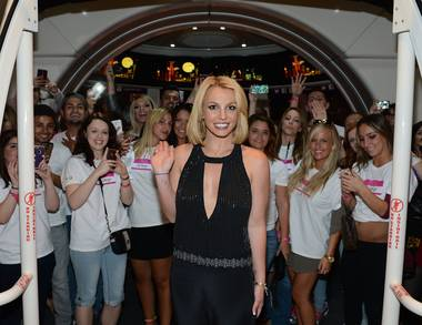 "Britney Spears celebrates ""Britney Day"" at the High Roller in the Linq Promenade on Wednesday, Nov. 5, 2014, in Las Vegas."