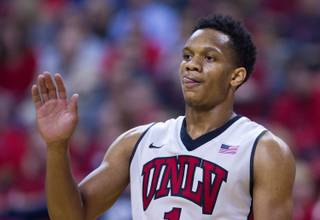 UNLV's Rashad Vaughn #1 sticks his tongue out during their home opener versus Morehead State on Friday, November 14, 2014.