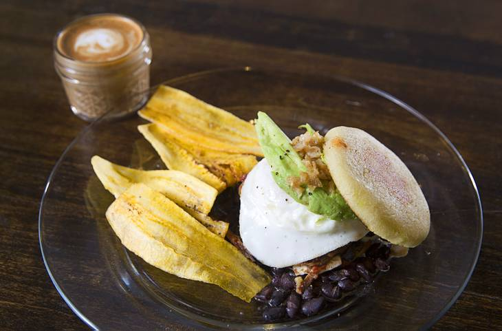 La Paisa at Makers & Finders Urban Coffee Bar, 1120 South Main St., in downtown Las Vegas Monday, Nov. 24, 2014. The dish is made with arepa, black beans, sweet maduros, carne mechada, an egg, avocado and crispy chicken skins. It is served with plantain chips.