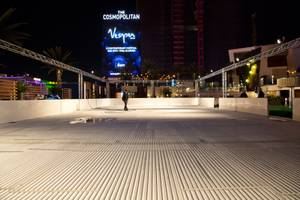 Installation of an ice-skating rink and festive winter lounge is in progress at the Cosmopolitan on Thursday, Nov. 13, 2014, in Las Vegas.