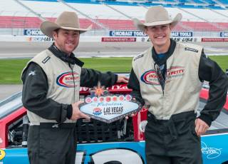 Trevor Brazile and Tuf Cooper at Richard Petty Driving Experience on Sunday, Nov. 30, 2014, at Las Vegas Motor Speedway.