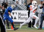 Bishop Gorman Tyjon Lindsey (25) runs for a touchdown during the NIAA State Championship Football game between the Bishop Gorman Gaels and the Reed Raiders at Damonte Ranch High School in Reno, Nevada.