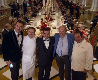 Sebastien Silvestri, Daniel Boulud, Buddy Valastro, Robin Leach and Emeril Lagasse attend the 2014 Ultimo Grand Banquet on Friday, Dec. 5, 2014, at the Venetian.