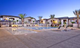 An exterior view of a model home at Domain apartment complex, 831 Coronado Center Drive, in Henderson.