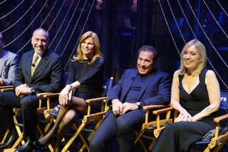"Director Philip William McKinley, Andrea Wynn, Steve Wynn and choreographer Marguerite Derricks attend the press conference for ""Steve Wynn's Showstoppers"" in Encore Theater on Saturday, Dec. 20, 2014, in Wynn Las Vegas."