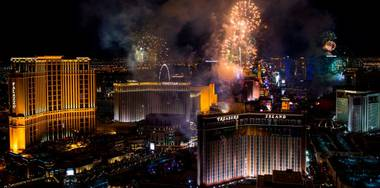 Fireworks above the Strip on Wednesday, Dec. 31, 2014, as seen from atop Trump International Tower in Las Vegas.