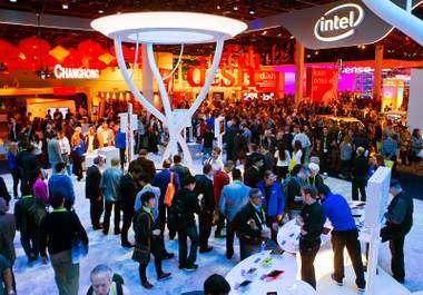 Participants wander about CES 2015 at the Las Vegas Convention Center on Tuesday, January 6, 2015.