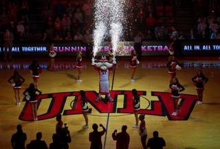 Hey Reb fires off some sparklers at the opening of the UNLV basketball game versus SJS at the Thomas and Mack Center on Saturday, January 10, 2015.