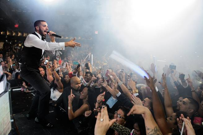 Drake hosts and performs at Marquee on Wednesday, Dec. 31, 2014, in the Cosmopolitan of Las Vegas.