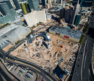 The MGM Arena construction site on the Strip behind New York-New York and Monte Carlo on Thursday, Jan. 8, 2015, as seen aboard a Maverick Helicopter.