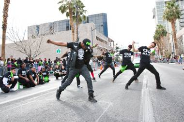 Dancers from The Factory Dance Academy perform for the crowd during the 33rd Annual Dr. Martin Luther King Jr. Parade in downtown Las Vegas, Monday Jan. 19, 2015.