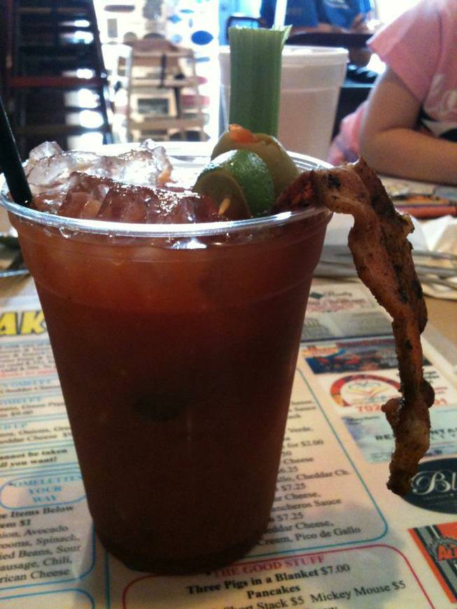 The Coffee Cup in Boulder City serves its own version of the Bloody Mary, with a thick 2-by-4 slab of bacon as garnish.