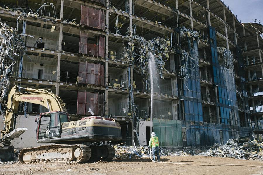 This partially built, nine-story residential tower at Gramercy, formerly ManhattanWest, on Russell Road near the 215 Beltway in Las Vegas, is being prepared for implosion on Jan. 22, 2015. Demolition is planned for 2 a.m. Feb. 17.