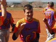 Michael Petracca played in the Sin City Shootout softball tournament Saturday, Jan. 18, 2015.