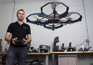Greg Friesmuth, CEO/founder, flies the Qua.R.K. (Quad Rotor Research Kit) drone at SkyWorks, a company producing research drones, in Henderson Monday, Jan. 26, 2015.