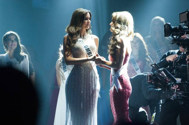 Miss Colombia Paulina Vega and Miss USA Nia Sanchez of Nevada are the final two contestants in the 2015 Miss Universe Pageant on Sunday, Jan. 25, 2015, in Miami. Vega was crowned the new Miss Universe.