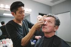 "Kazu Tsuji works on the makeup for Bob Anderson, who plays Frank Sinatra in ""Frank: The Man, The Music,"" at Palazzo on Friday, Jan. 23, 2015, in Las Vegas."
