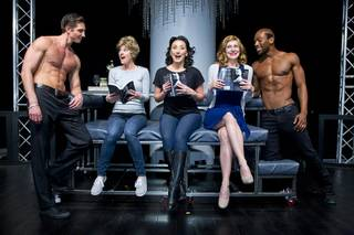 "Christian Hodgson, Sabrina Plaisance Sia (Carol), Chelsea Phillips-Reid (Pam), Zipporah Peddle (Bev) and William Credell during a rehearsal for ""50 Shades! The Parody"" at Windows Theater on Wednesday, Jan. 28, 2015, in Bally's. The show opens Feb. 3."