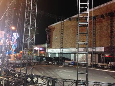 The stage and venue construction for the 56th Annual Grammy Awards concert on Fremont East, shown Sunday, Feb. 1, 2015, in downtown Las Vegas.