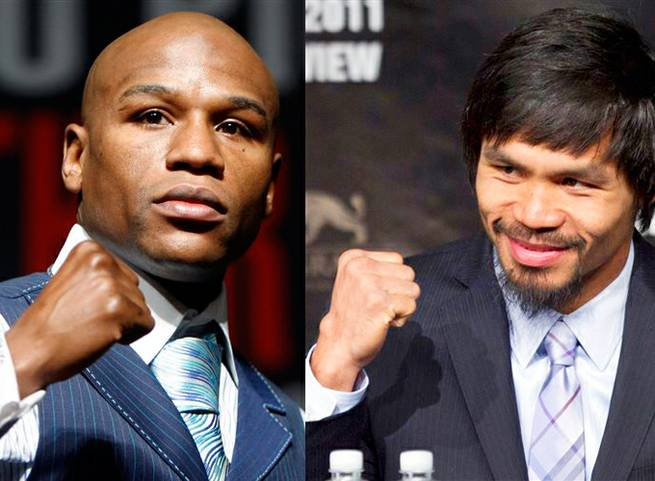 Floyd Mayweather Jr. and Manny Pacquiao are shown in this composite from file photos.