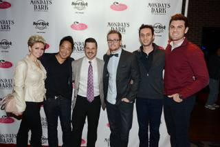 "Host Mark Shunock, third from left, and guests arrive at ""Mondays Dark,"" benefiting the LGBTQ Center, at Vinyl on Monday, Jan. 26, 2015, in the Hard Rock Hotel."