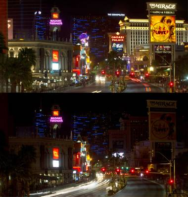 The Las Vegas Strip is shown in a combination photo before and after casino lights are dimmed in honor of legendary UNLV basketball coach Jerry Tarkanian, Wednesday, Feb. 18, 2015. Tarkanian died Feb.11 at age 84.