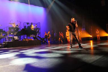 Frankie Moreno and his backing band are shown during rehearsals for Saturday night's gala honoring Nevada Ballet Theater co-founder Nancy Houssels at Smith Center's Reynolds Hall.