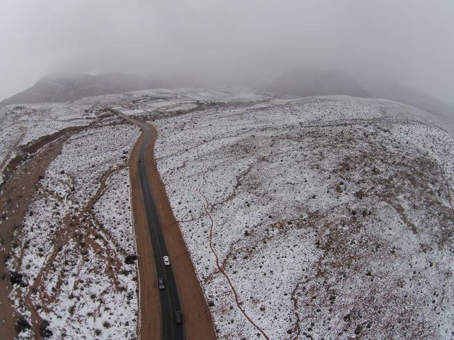 snow at red rock