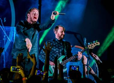 Imagine Dragons perform at Destinations Dragons Tour Presented by Southwest Airlines at Vinyl Las Vegas at Hard Rock Hotel & Casino in Las Vegas, NV on February 23, 2015.