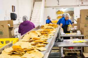 Freshly baked tostadas travel down a conveyer belt ready to be packaged at Tortillas Incorporated, a family-owned tortilla factory, in North Las Vegas January 22, 2015.