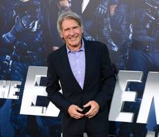 "In this Aug. 11, 2014, photo, Harrison Ford arrives at the premiere of ""The Expendables 3"" at TCL Chinese Theater in Los Angeles. Ford is set to reprise his role as Rick Deckard in a sequel to the dystopian, neo-noir ""Blade Runner"" more than 31 years after the film first premiered, Alcon Entertainment announced Thursday, Feb. 26, 2015."