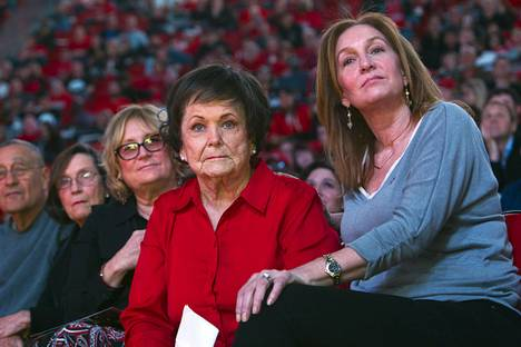 Lois Tarkanian, center, listens to former NBA player Chris Herren speak about her late husband during a tribute to celebrate the life of former UNLV coach Jerry Tarkanian at the Thomas & Mack Center Sunday, March 1, 2015. With Lois Tarkanian are her daughters Pamela Tarkanian, left, and Jodie Diamant. Jerry Tarkanian died died Feb. 11 at age 84.