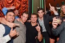 New England Patriots tight end Rob Gronkowski, center, parties at Surrender on Saturday, Feb. 28, 2015, in Encore.