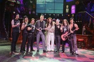 "Venetian and Palazzo Vice President of Food and Beverage Sebastien Silvestri presents ""Rock of Ages"" guest star Joey Fatone with the key to the Bourbon Room on Friday, Feb. 27, 2015, at the Venetian."