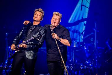 "Joe Don Rooney and Gary LeVox of Rascal Flatts kick off their mini-residency ""Vegas Riot!"" at the Joint on Wednesday, Feb. 25, 2015, in Hard Rock Hotel Las Vegas."