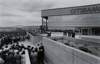 An overview of the Citibank headquarters building opening on April 15, 1985.