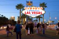 Tourists take photos at the Welcome to Fabulous Las Vegas sign Saturday, March 14, 2015, on the Strip.