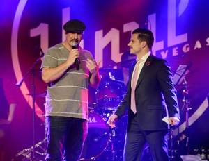 """Divas"" night at ""Mondays Dark"" hosted by Mark Shunock, right, with Joey Fatone, benefiting Dress for Success on Monday, March 16, 2015, in Vinyl at the Hard Rock Hotel."