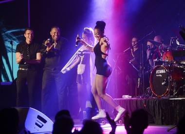 "Reva Rice performs during ""Divas"" night at ""Mondays Dark"" hosted by Mark Shunock benefiting Dress for Success on Monday, March 16, 2015, in Vinyl at the Hard Rock Hotel."